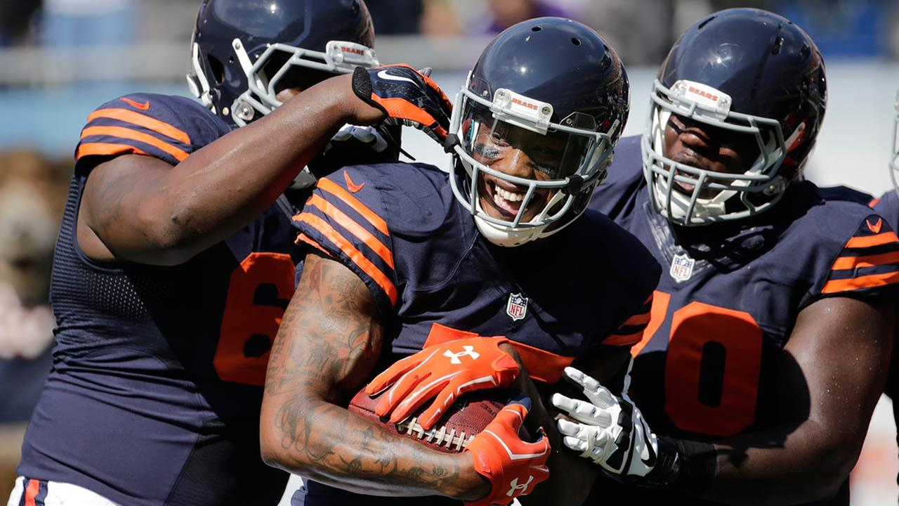 Chicago Bears wide receiver Brandon Marshall (15) celebrates his touchdown reception with teammates in the first half of an NFL football game against the Green Bay Packers.