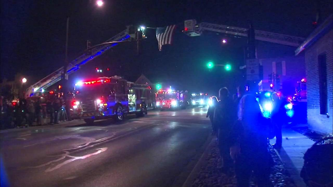 Firefighters from nearly two dozen communities began the 20th annual Silent Parade in Hinsdale, a memorial to those killed in fires.