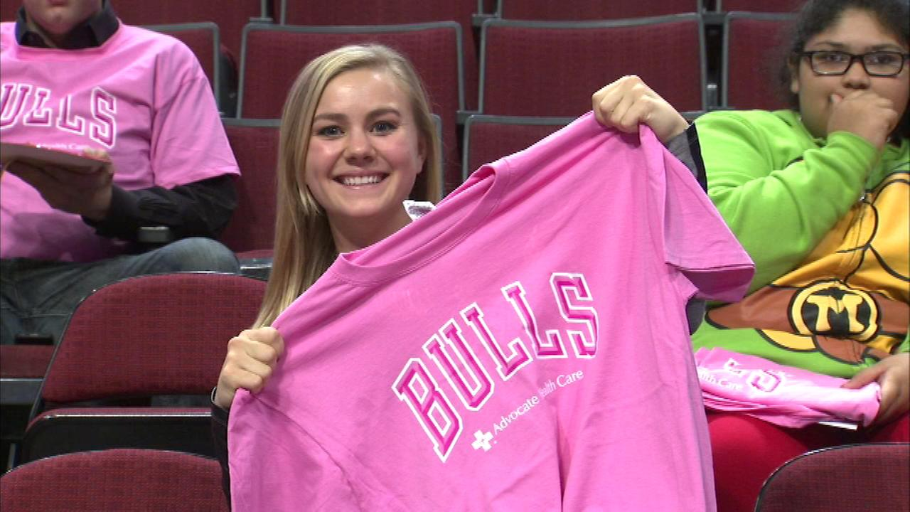 The Chicago Bulls, who usually wear red and black, were accented with a lot of pink Thursday night to raise awareness for breast cancer.