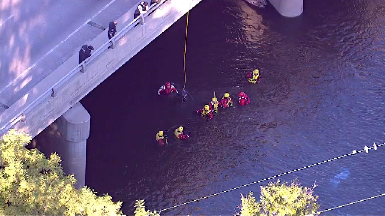Police searched the waters of the Des Plaines River near Cermak Avenue in suburban north Riverside on Wednesday afternoon.