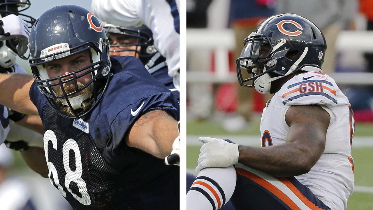 Matt Slauson (68) and Lamarr Houston (99) are both out for the rest of the Chicago Bears 2014 season.