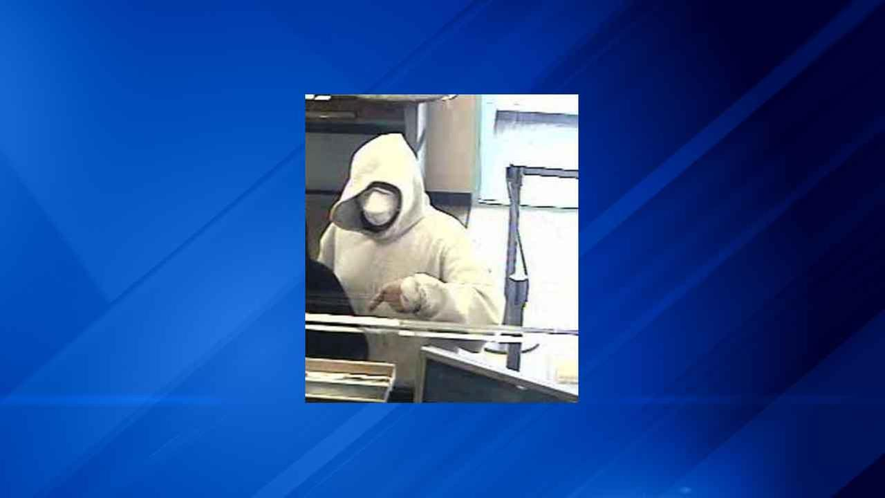 Surveillance image of the man suspected of robbing a Chase Bank branch in the Austin neighborhood Tuesday morning.