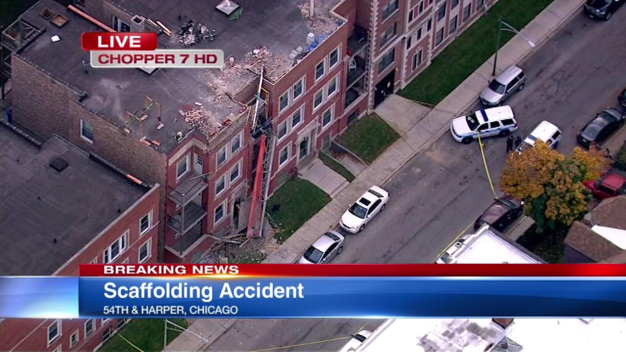 One person was seriously injured after scaffolding collapsed at a construction site at 54th and Harper in Chicagos Hyde Park neighborhood.