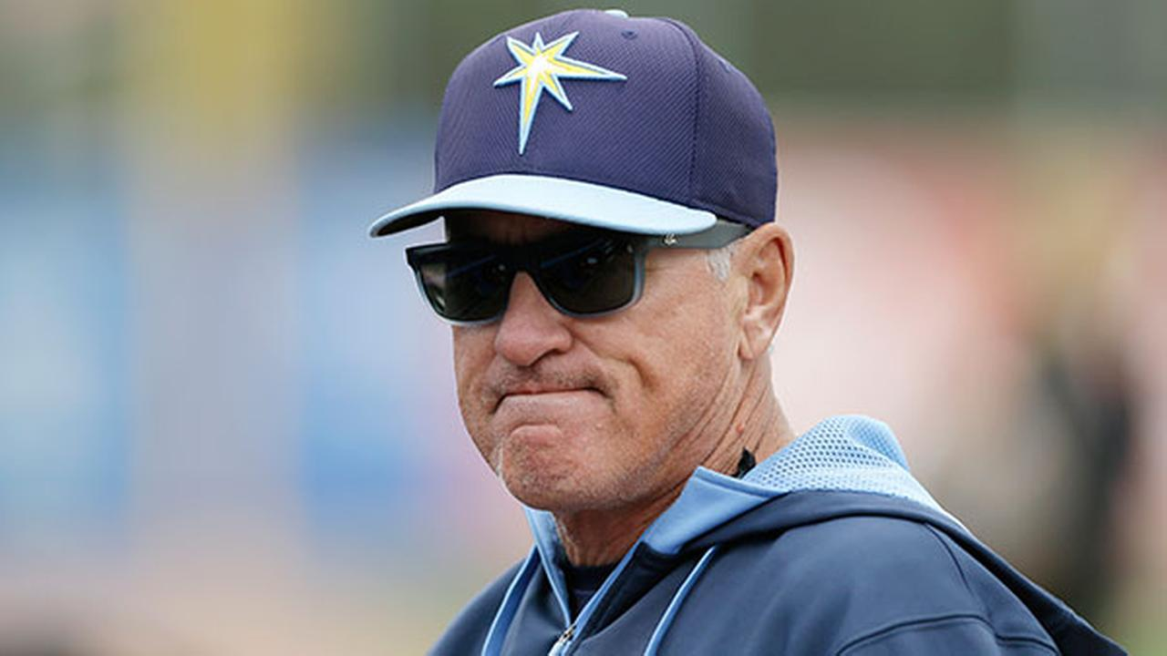 Tampa Bay Rays manager Joe Madden watches his team take batting practice before an exhibition baseball game against the Toronto Blue Jays March 7, 2014, in Dunedin, Fla.