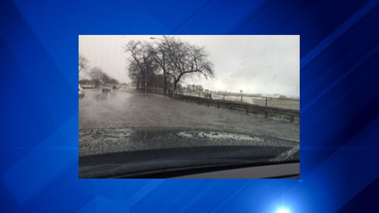 Flooding seen while driving northbound along Lake Shore Drive.ABC7's Terrell Brown