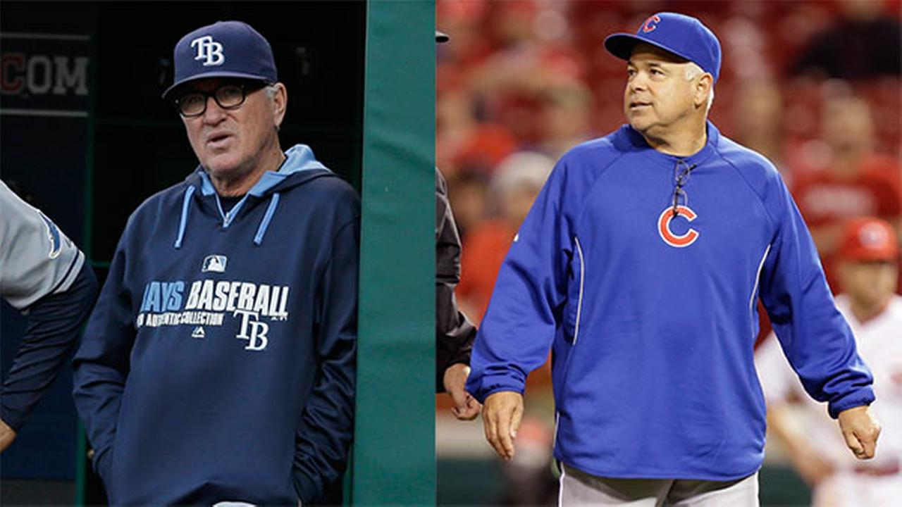 The Chicago Cubs hired Joe Maddon (left) as their new manager just hours after announcing they were firing Rick Renteria (right).