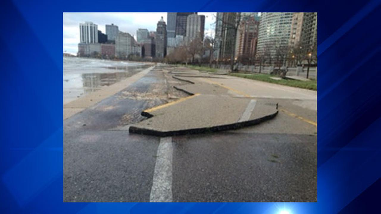 Strong winds caused high waves Friday along Lake Shore Drive, causing damage along parts of the citys lakefront.ABC7's Terrell Brown