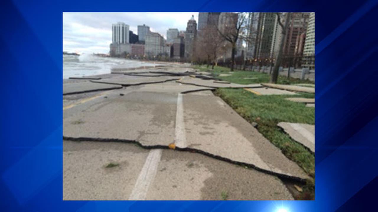 Strong winds caused high waves Friday along Lake Shore Drive, causing damage along parts of the citys lakefront.