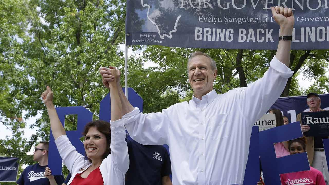 (FILE) Bruce Rauner and his running mate, Evelyn Sanguinetti.