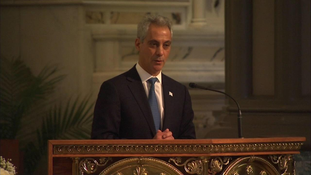 Mayor Rahm Emanuel speaks at Jane Byrnes funeral on Nov. 17, 2014.