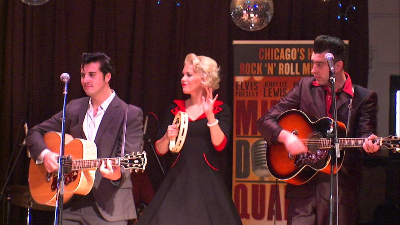 The cast of Million Dollar Quartet performs at Waters Elementary.