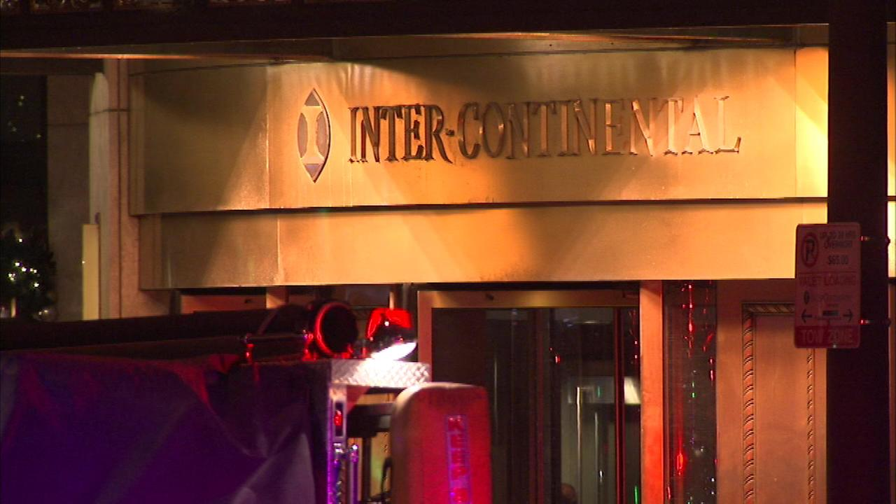 A pipe burst at the Hotel Intercontinental on Michigan Avenue on Friday night, flooding a stairwell.