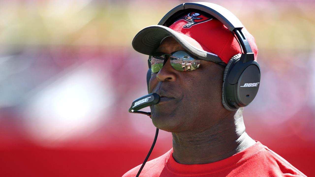 Tampa Bay Buccaneers head coach Lovie Smith during the first half of an NFL football game against the Minnesota Vikings on Sunday, Oct. 26, 2014, in Tampa, Fla.