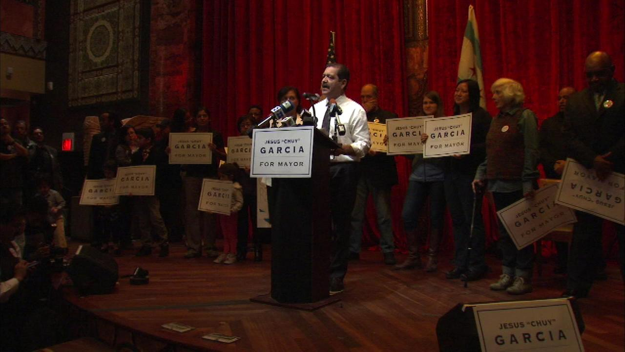 Cook County Commissioner Jesus Garcia attended a rally in the West Loop on Sunday.