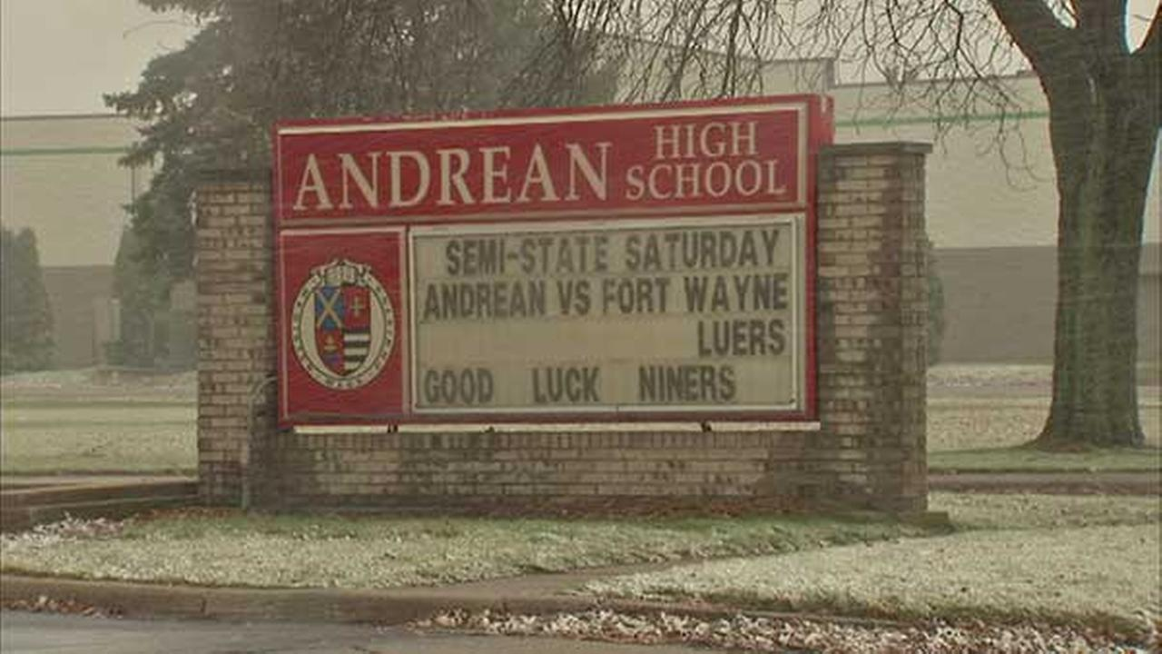 A sign outside of Andrean High School in Merrillville, Ind.