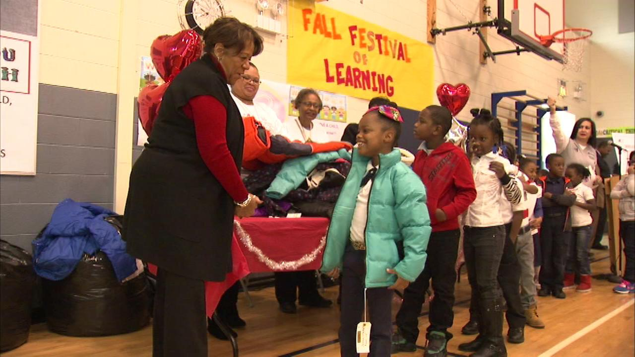 CPS Chief Operation Officer Barbara Byrd-Bennett helped to hand out the coats at Langston Hughes Elementary School on the citys South Side.