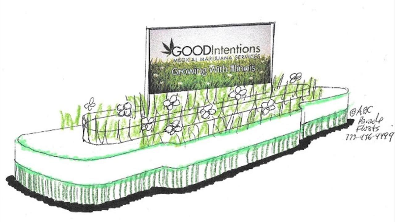 A rendering of the float that will be in the 2014 McDonalds Thanksgiving Day Parade from medical marijuana clinic Good Intentions.
