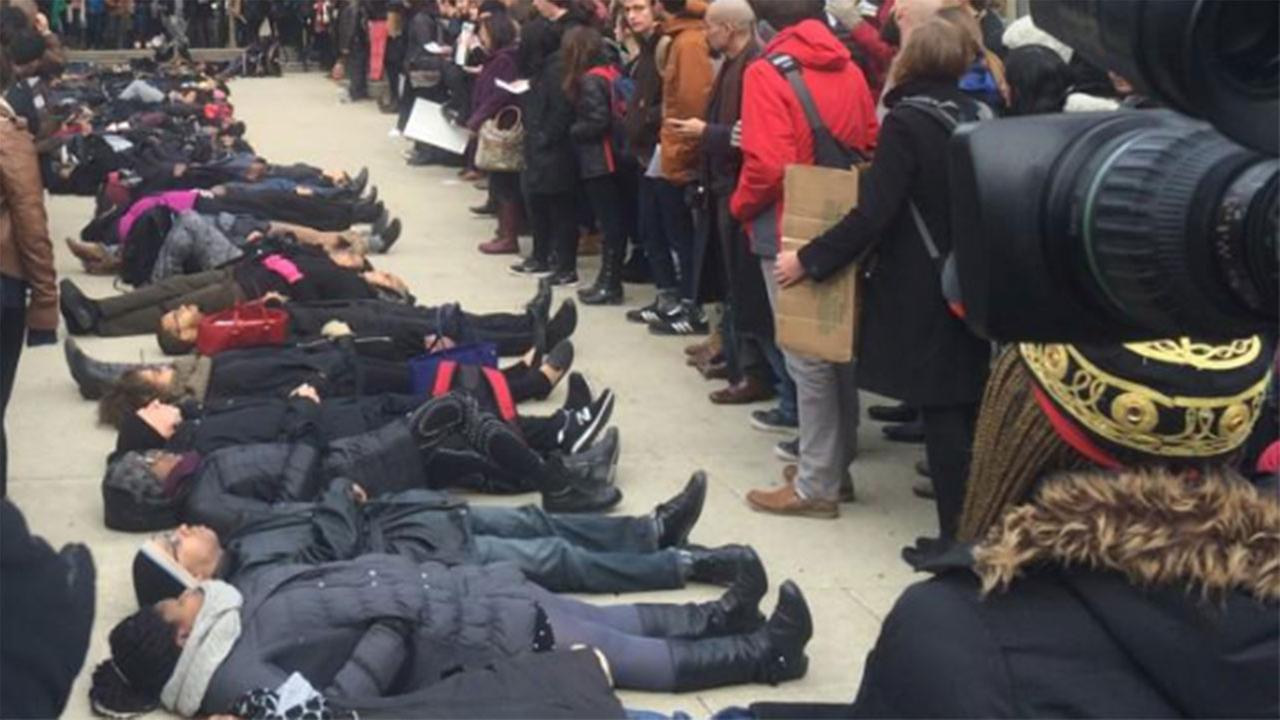 Protests and prayer on the campus of University of Chicago after no indictment in Eric Garner chokehold death.