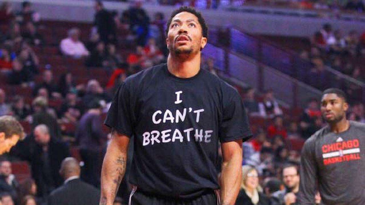 Chicago Bulls point guard Derrick Rose wore a black I Cant Breathe T-shirt during warmups before playing the Golden State Warriors on Saturday night.