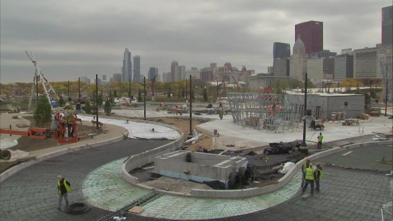 The new Maggie Daley ice ribbon under construction in Millennium Park.