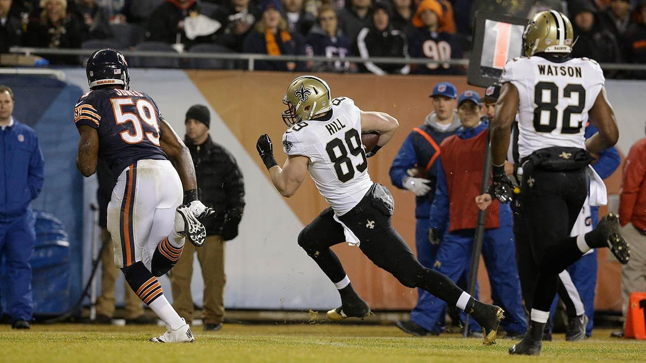 New Orleans Saints tight end Josh Hill (89) runs to end zone for a touchdown during the first half of an NFL football game against the Chicago Bears Monday night.