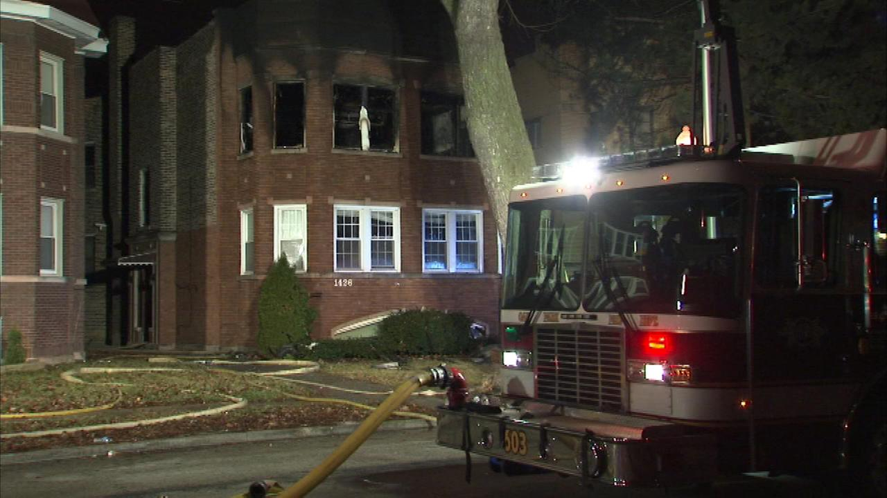 Six people escaped an apartment fire in west suburban Oak Park. Paramedics treated them on the scene for smoke inhalation.
