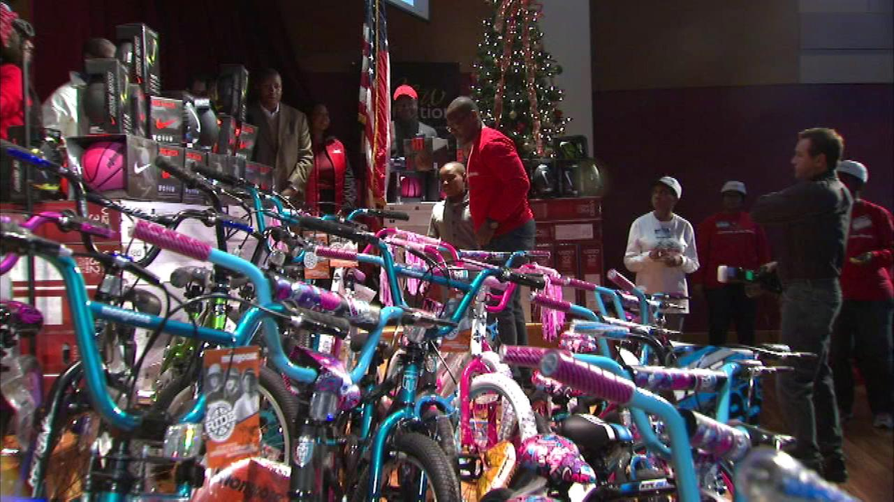 Dozens of bikes, televisions and other toys were given to families in need during Saturdays Christmas in the Wards celebration.