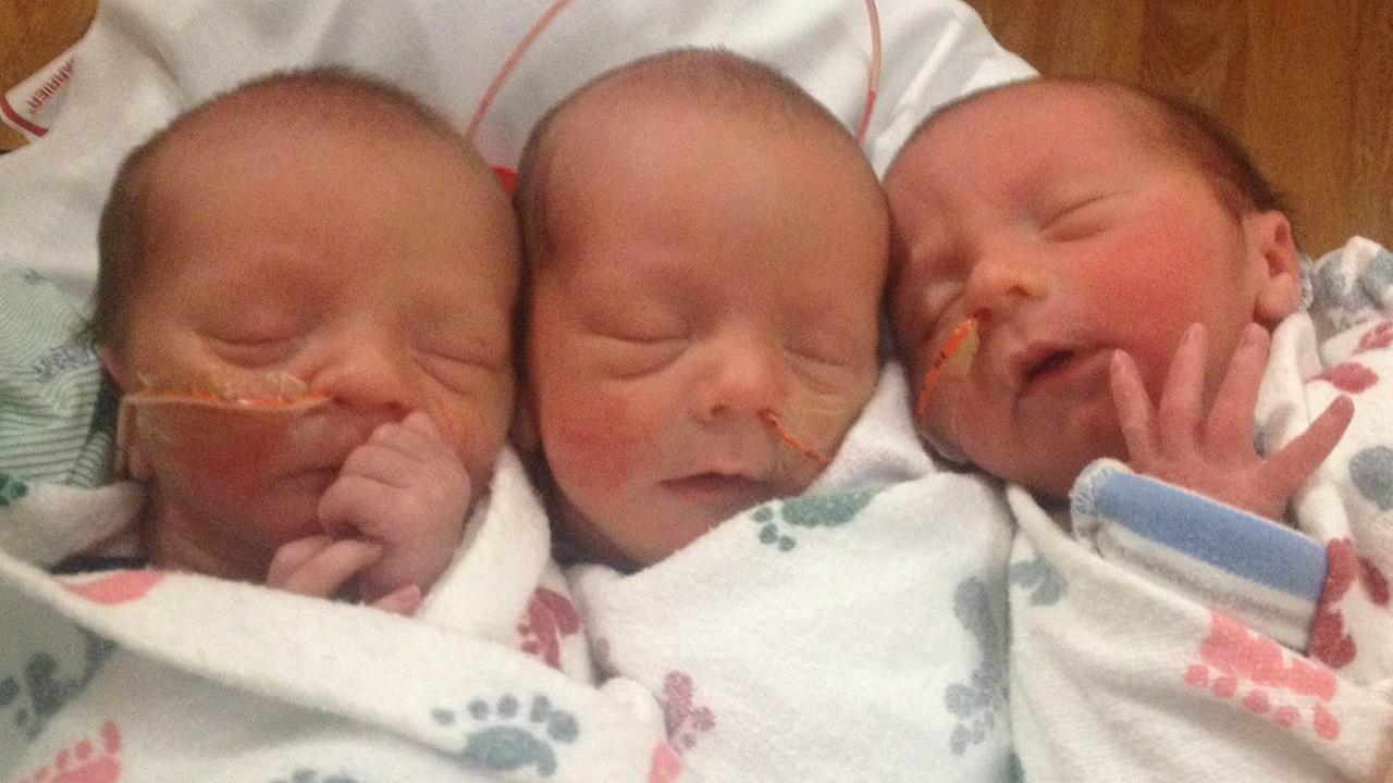 A Murphy family is celebrating their new family additions, three of them in the form of identical triplets.