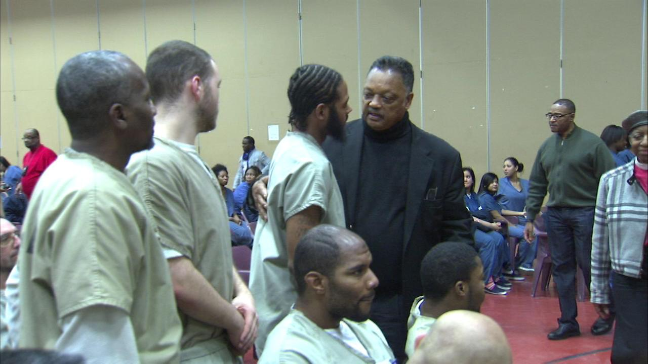 The Reverend Jesse Jackson met with inmates at the Cook County Jail on Christmas Day.