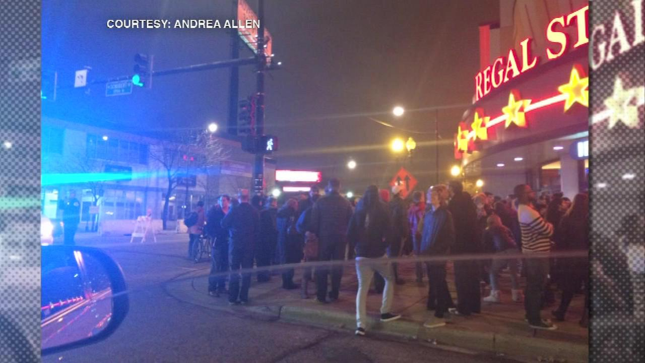 Moviegoers were evacuated from a theater on the citys North Side Friday night after a fire alarm was pulled.