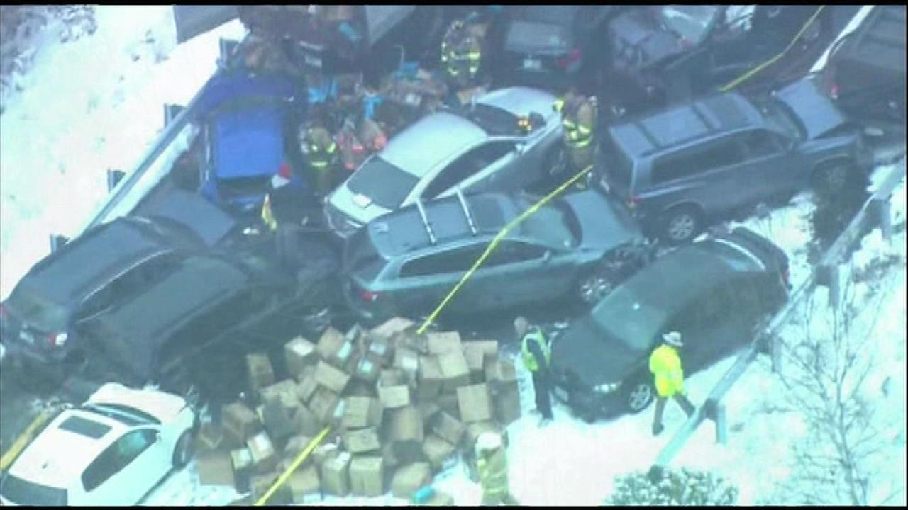 PHOTOS: 35 Cars involved in N.H. I-93 pileup