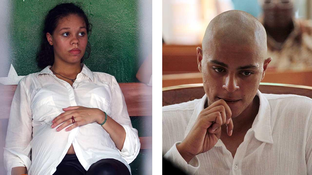 Heather Mack and Tommy Schaefer on the first day of their murder trials in Bali, Indonesia.