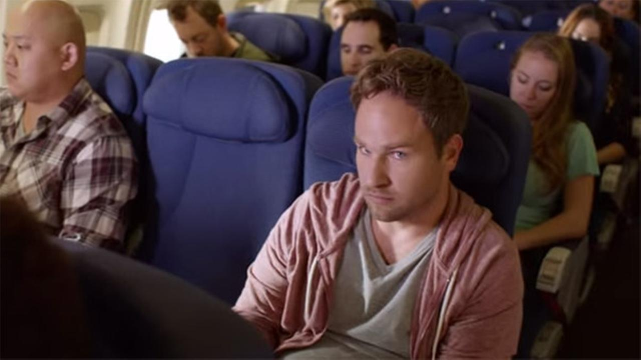 A still from Scott Zabielskis submission to the Doritos Crash The Super Bowl contest, titled The Middle Seat.