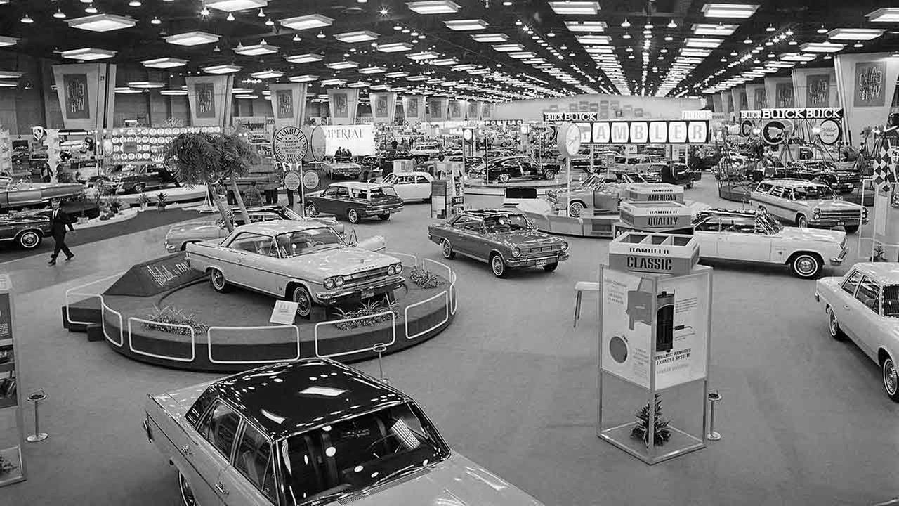 Acres of new automobiles at the Chicago Automobiles show on Feb. 20, 1965, at McCormick Place in Chicago.AP Photo/Larry Stoddard