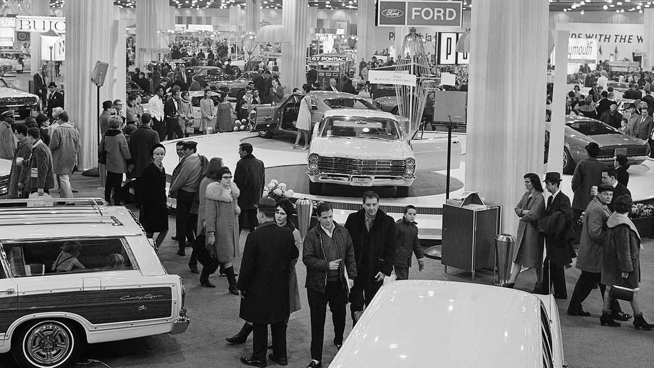 Despite frigid temperatures, record crowds packed Chicagos International Amphitheater for the the 59th annual Chicago Automobile Show on Feb. 25, 1967.AP Photo