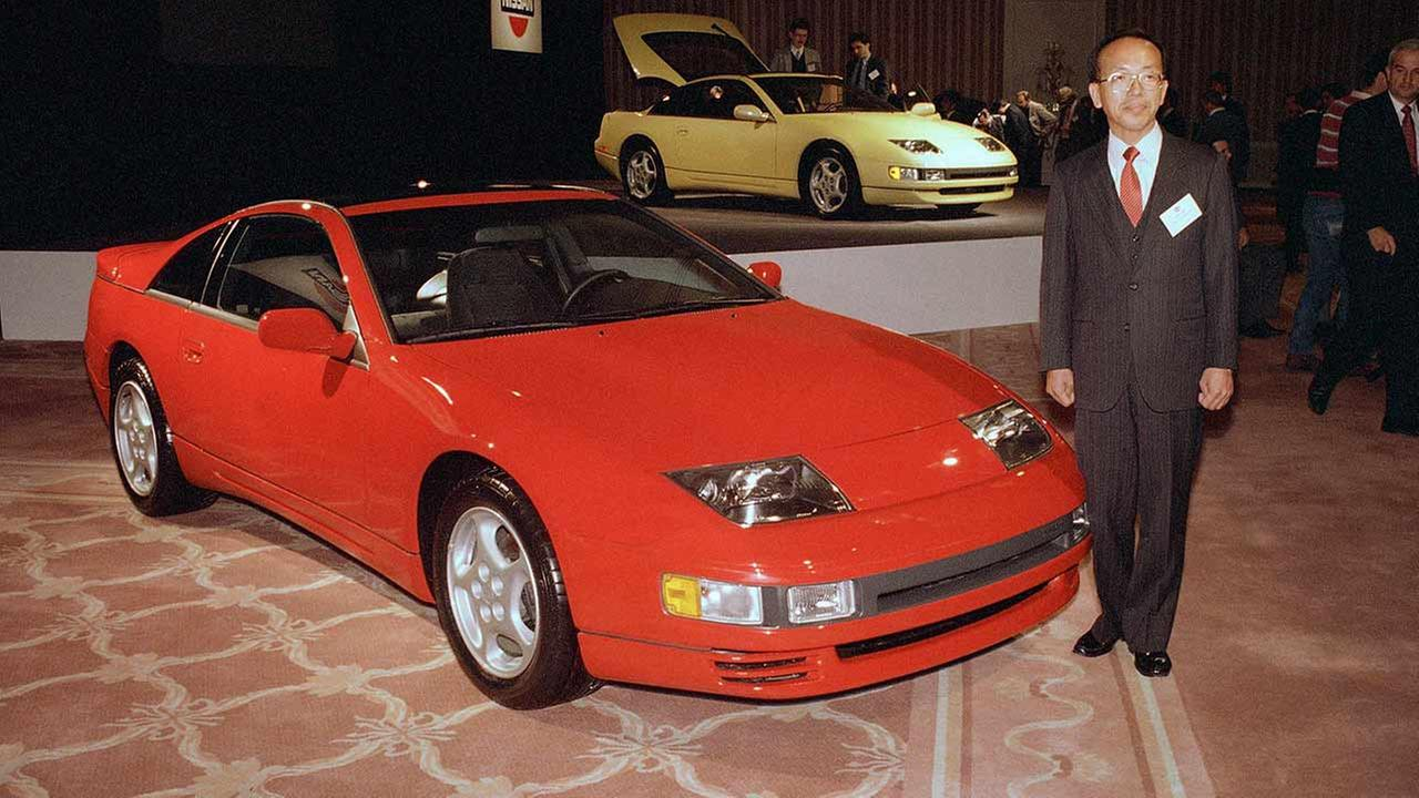 Katsuo Yamada, chief designer of the 300 ZX project for Nissan Motor Corp., stands next to the new 1990 300 ZX Turbo model that was introduced on Feb. 8, 1989 in Chicago.AP Photo/Mark Elias