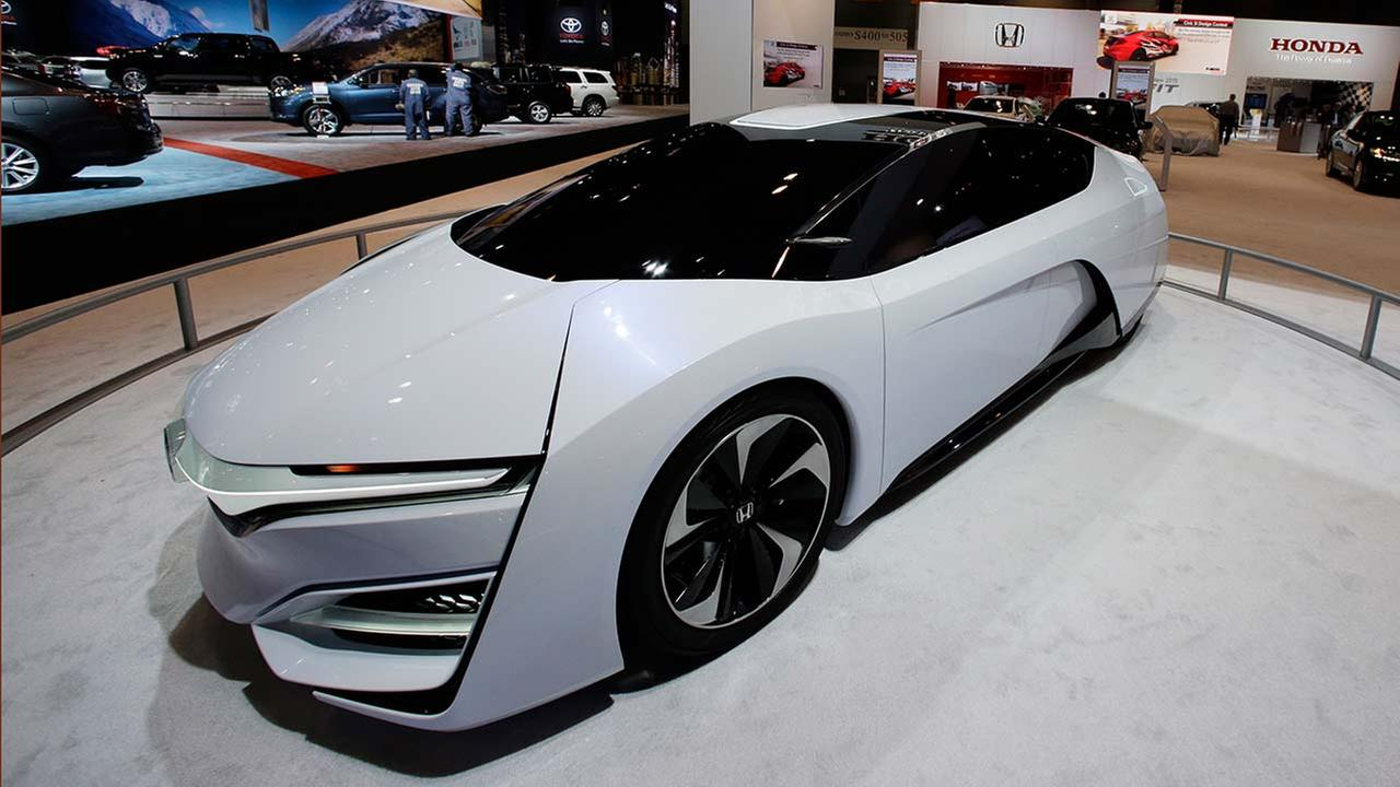 The Honda FCEV Concept is displayed during the media preview of the Chicago Auto Show at McCormick Place in Chicago on Feb. 6, 2014.