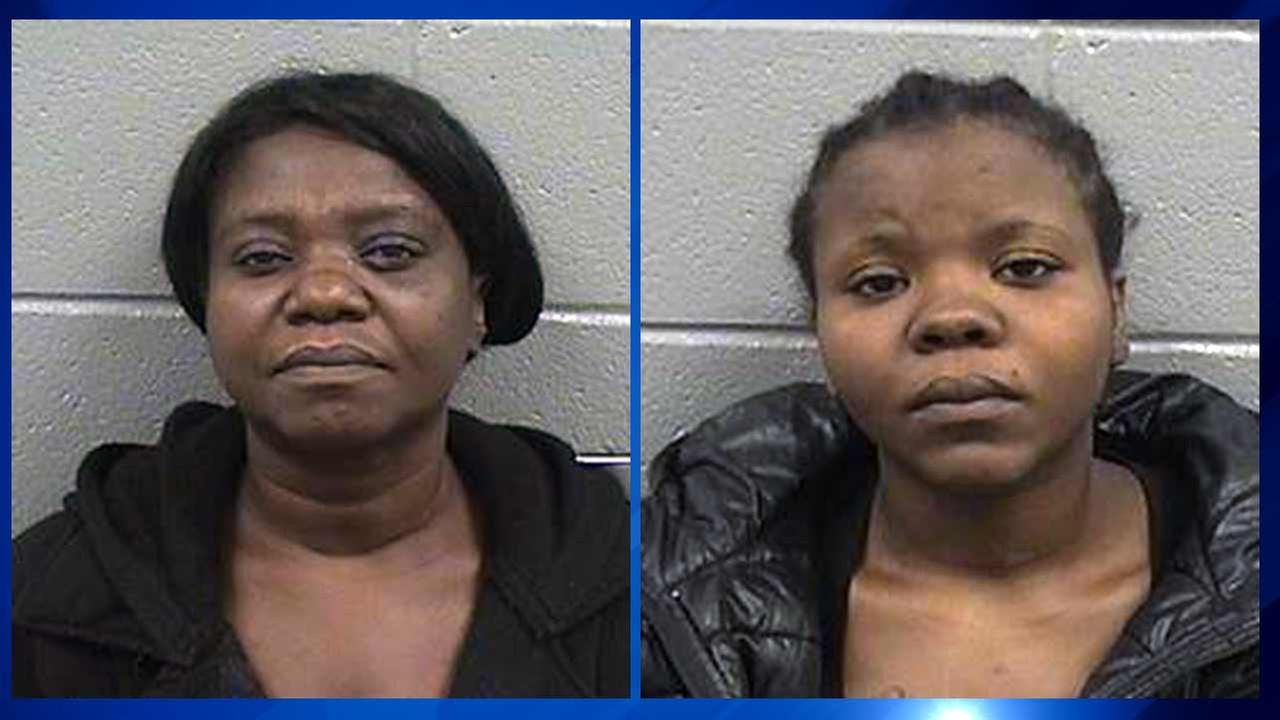 A mother and daughter upset that their teenage relative was disciplined at a South Side elementary school are charged with allegedly beating and stabbing two Chicago Public Schools