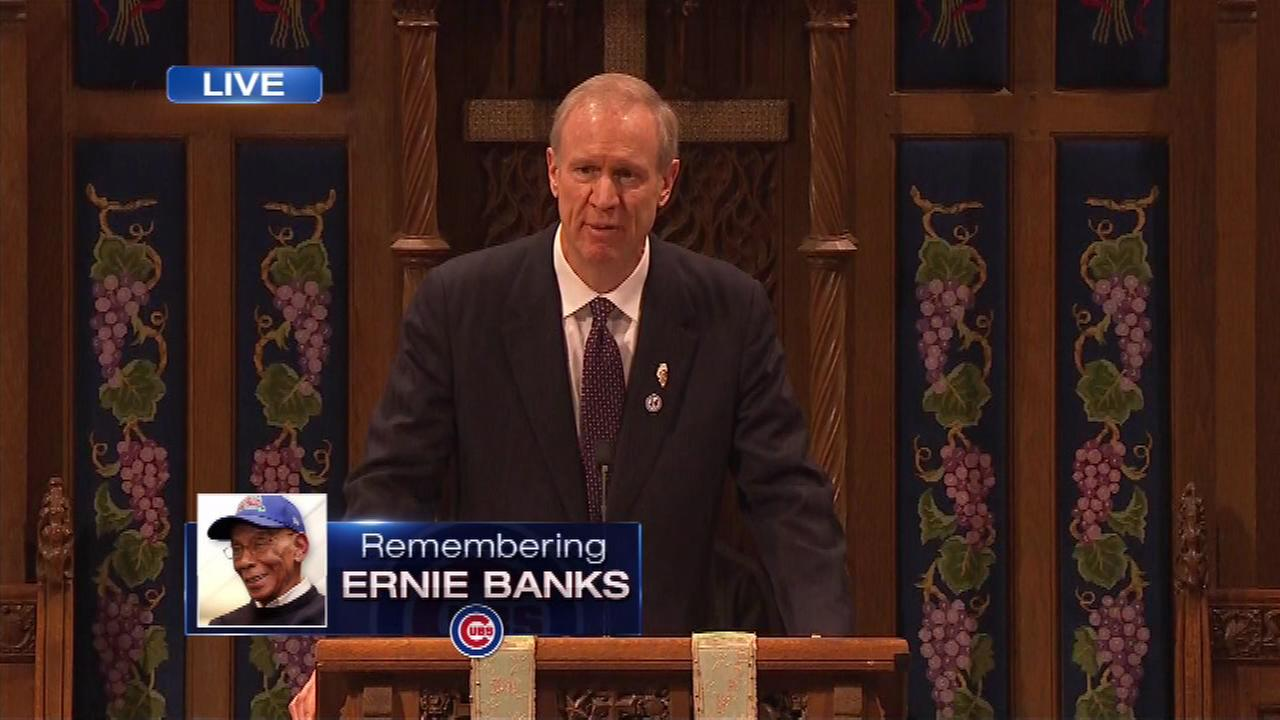 Crowds Gather For Ernie Banks Memorial Service