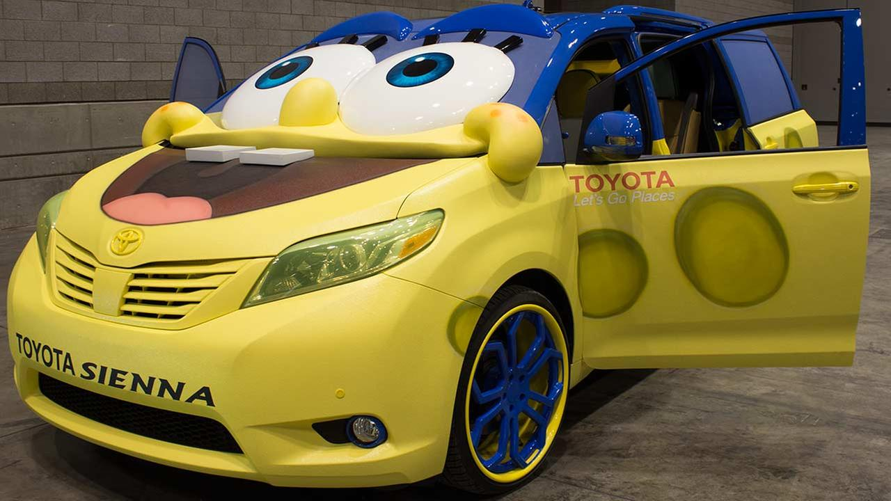 A special edition SpongeBob SquarePants version of the 2015 Toyota Sienna during the Concept and Technology Garage event at the 2015 Chicago Auto Show on Feb. 11, 2015.