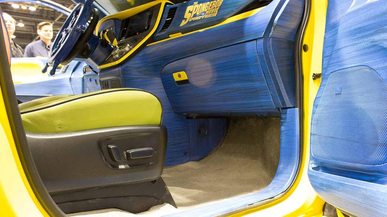 Real sand was on the floors of the special edition SpongeBob SquarePants version of the 2015 Toyota Sienna - and the seats even had six-pack abs!