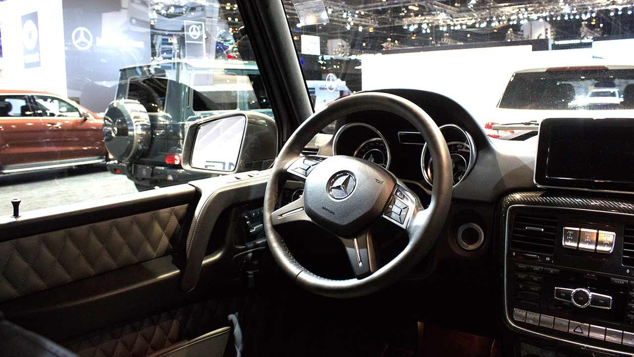 An inside look at the 2015 Mercedes G-Class SUV on display at the Chicago Auto Show on Feb. 12, 2015.