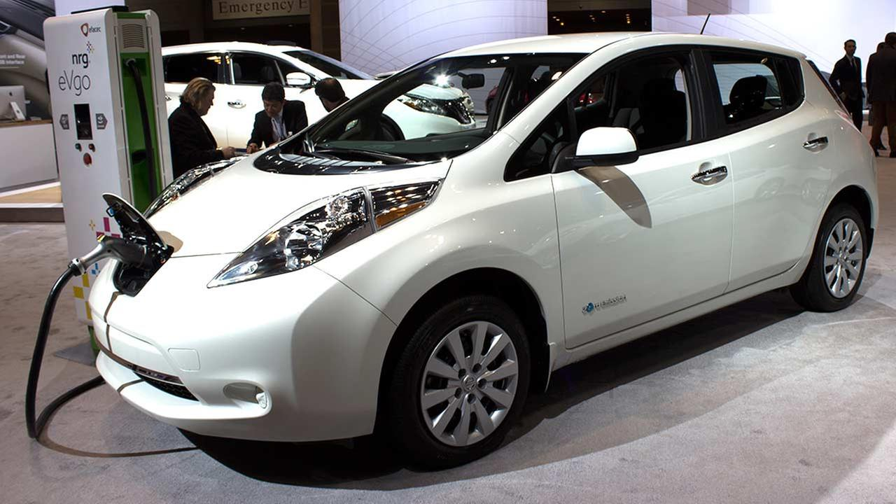 The electric 2015 Nissan Leaf on display at the Chicago Auto Show on Feb. 12, 2015.
