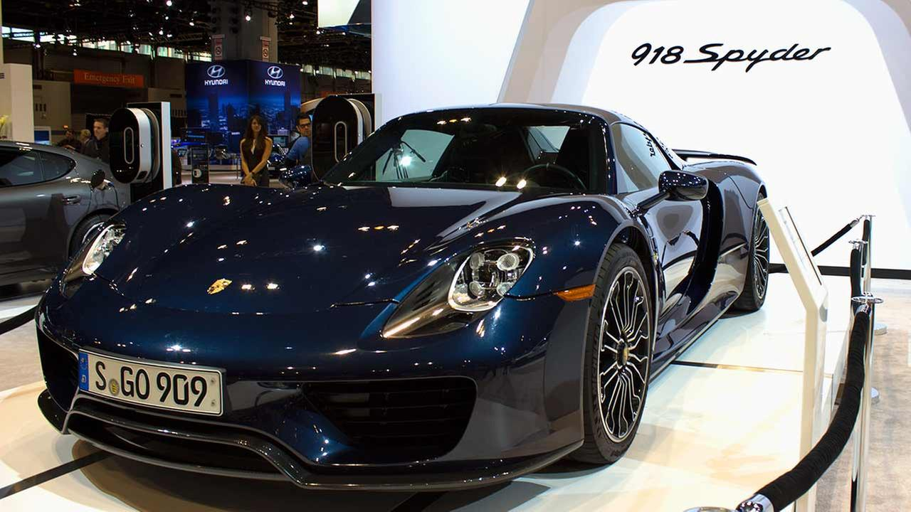The 2015 Porsche 918 Spyder PHEV on display at the Chicago Auto Show on Feb. 12, 2015.