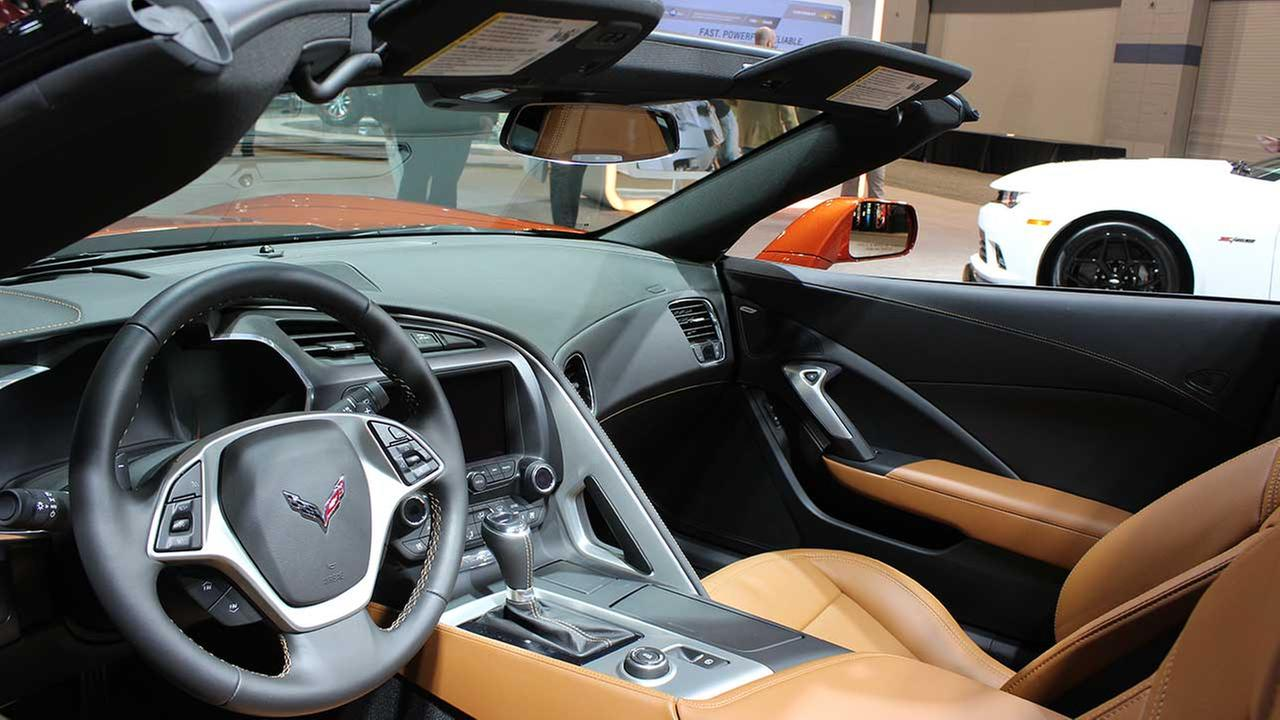 An inside view of the 2015 Chevrolet Corvette on display at the Chicago Auto Show on Feb. 13, 2015.