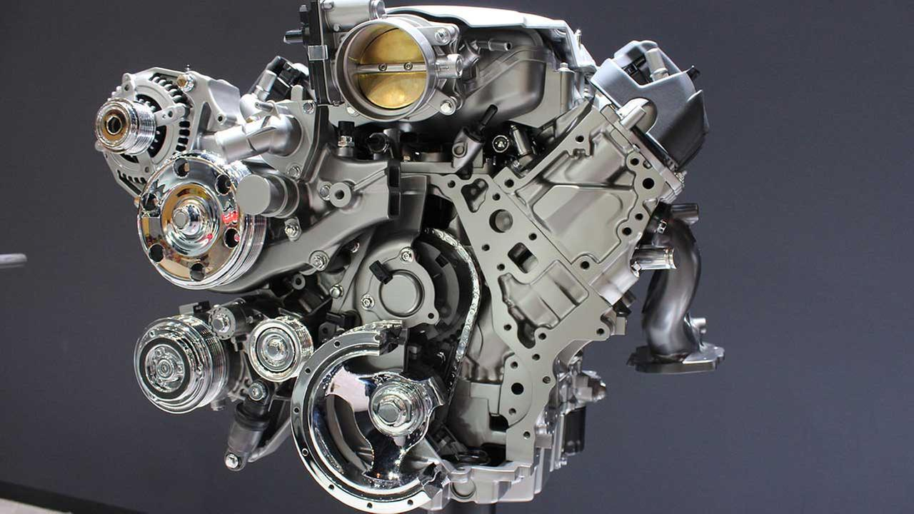 A model Chevrolet LT1 6.2L V-8 VVT DI engine on display at the Chicago Auto Show on Feb. 13, 2015.