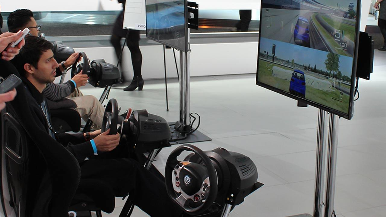 An interactive racing area at the Volkswagen booth at the 2015 Chicago Auto Show on Feb. 13, 2015.