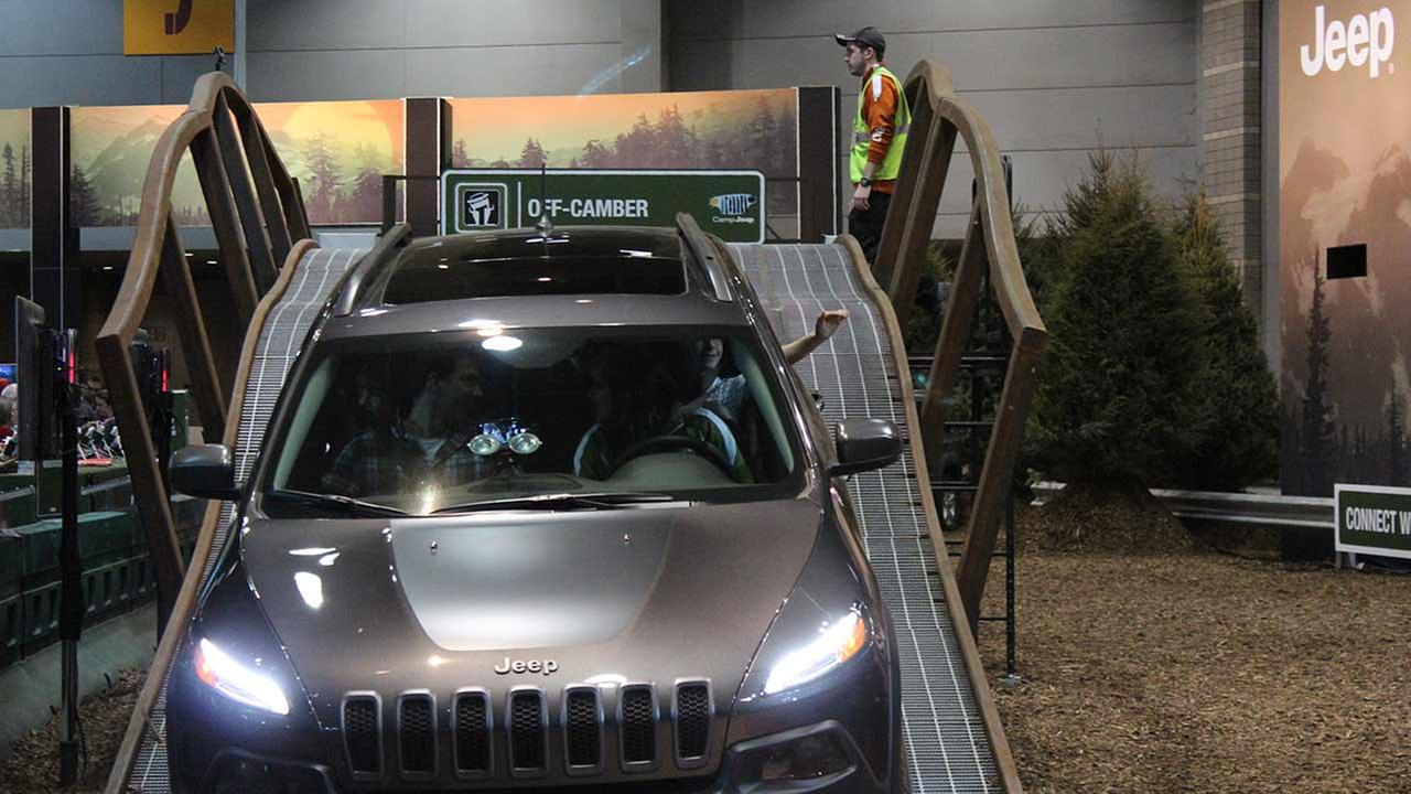 Attendees drive the course at Camp Jeep, the companys interactive area at the 2015 Chicago Auto Show on Feb. 14, 2015.
