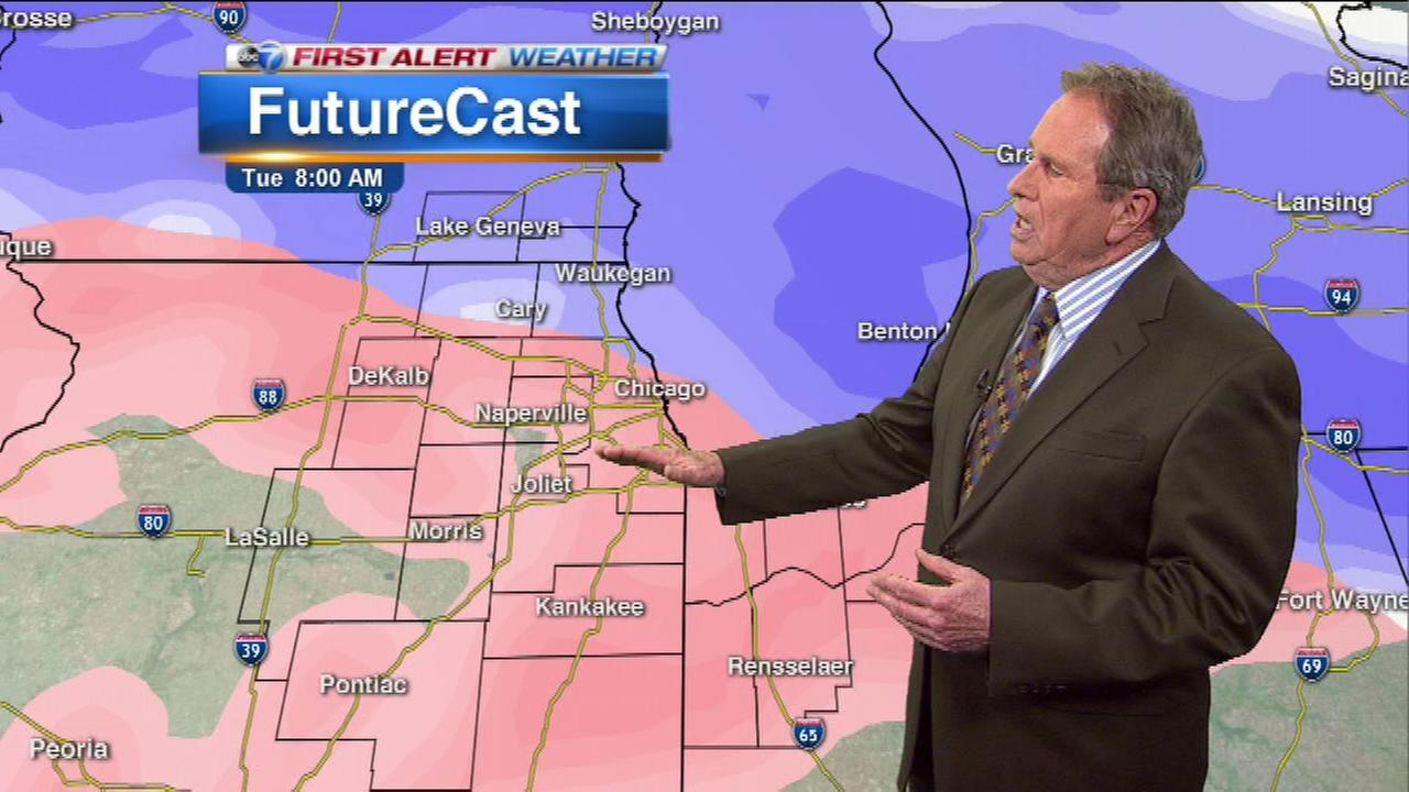 ABC7 Chief Meteorologist Jerry Taft says snow, ice and rain may impact the Tuesday morning commute.