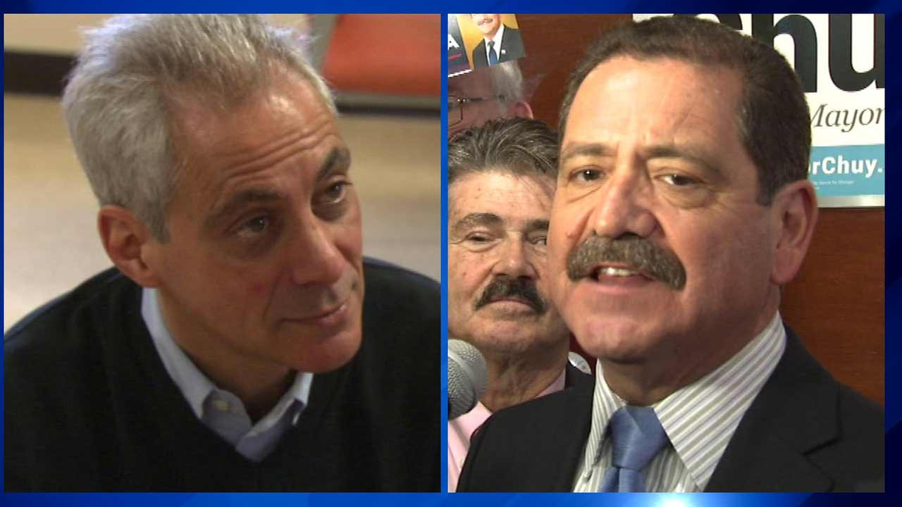 Mayor Rahm Emanuel (left) and Cook County Commissioner Jesus Chuy Garcia